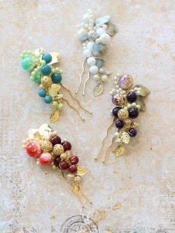 画像1: 編みビーズで作る髪飾り兼帯飾り